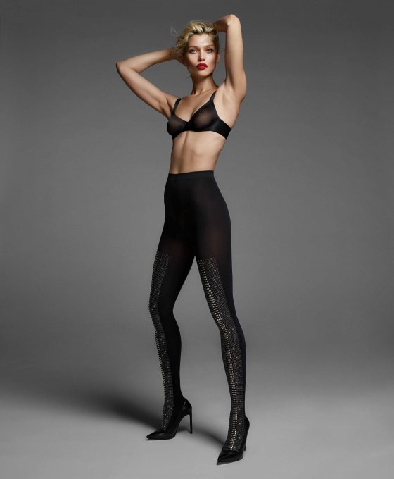 Sheer touch bra and black/silver tights (Elegance)