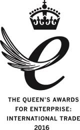 Queen's Award for Enterprise International Trade 2016 Emblem - black on white