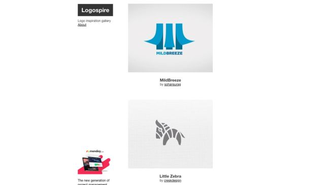 Logospire takes a minimalist approach to showcasing logos