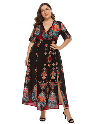National Style Black Boho Print Large Size Dress Zipper Seamless
