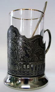 Metal tea-glass holder