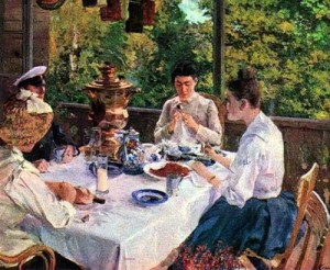 At the tea table, by K.Korovin, 1888 (tea drinking at dacha)