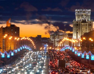 Night traffic jams in Moscow