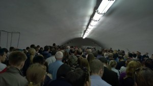 Moscow metro during rush hour