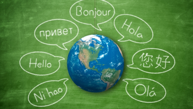 Globe and language bubbles