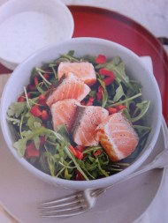 Salmon with Tartare Sauce and Rocket Salad