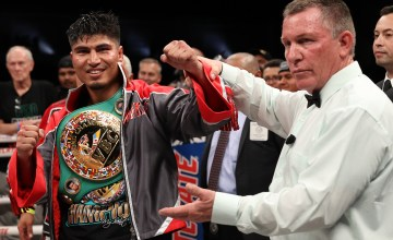 February 29, 2020; Frisco, TX, USA; Mikey Garcia and Jessie Vargas during their main event bout on the Matchroom Boxing USA card at the Ford Center at the Star in Frisco. Mandatory Credit: Ed Mulholland/Matchroom Boxing USA
