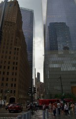 Looking east on Vesey Street: on the left is the One Hundred Barclay Condominiums Building; on the right is One World Trade Center.