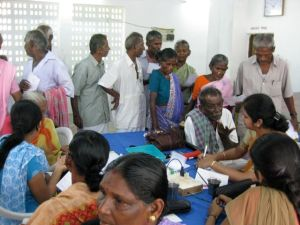 Since its beginning in the mid seventies, Aravind has served some 27 million eye care patients. 3.4 million have had surgery, most to reverse blindness caused by cataracts. Here a line formed to see doctors at a camp organized in a village 25 miles away from the main facilities in Madurai, India.