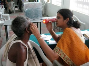 An eye exam conducted at a village eye camp.