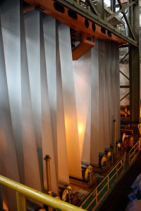 steel being flattened to make steel sheets