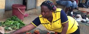 woman works in market