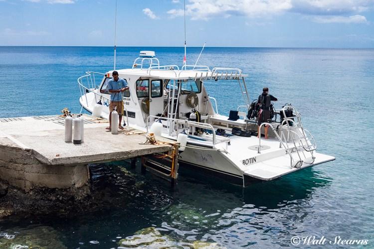 Island Divers dive boat at Ti Kaye Resort & Spa, St. Lucia, Caribbean