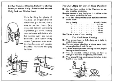 """Material promocional de Holly Courts, San Francisco, 1940.Reproducido Catherine Bauer (1940), """"Guía del Ciudadano para la Vivienda""""."""
