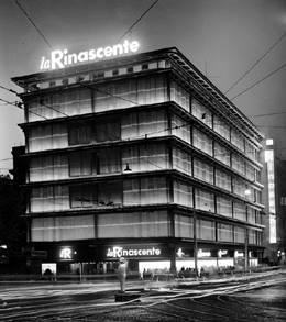 Franca Helg.- Tiendas La Rinascente, Plaza Fiume, Roma. 1957-1961.