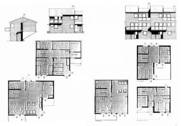 Birgit Cold, T. Brantenberg & E. Hiorthøy (c.1983): Cooperativa Brattbakken (Kristiansand). Tipologías de vivienda adosada y vivienda aislada.