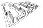 """Helena y Szymon Syrkus, Conjunto de viviendas para trabajadores Rakowiec en Varsovia, proyecto de Helena y Szymon Syrkus de 1930-1932 con investigación preliminar del grupo """"Praesens"""". 192 viviendas en 4 bloques de tres plantas con lavandería, guardería, biblioteca área de juegos para niños."""