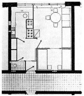 Helena y Szymon Syrkus, Planta de una de las viviendas del conjunto Racowiec, con acceso por galería y 38 m2 de superficie, 1930-1932