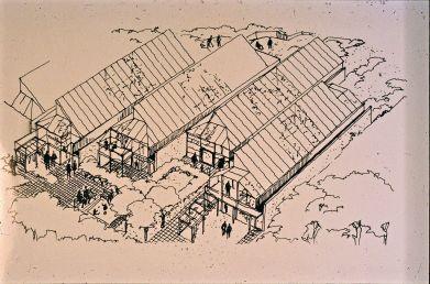 Birgit Cold (1980): Edificio Skiboli. Bocetos sobre la posible agrupación de módulos residenciales.