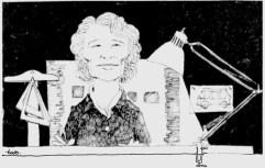 Caricatura de Blanche Lemco publicada junto a una entrevista en The Montreal Gazette el 25 de julio de 1973