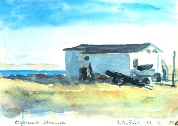 Lise Roel, acuarela de paisaje danés, 1952
