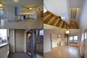 Mai Šein: Edificio de apartamentos en Calle Vabriku n.8. Fotografías interiores del tipo dúplex: zona de día, escalera interior, terraza-blacón y dormitorio.