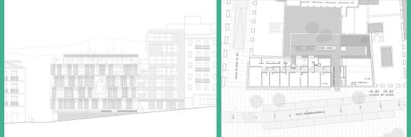 Carmen Espegel y Concha Fisac (2002): 23 viviendas de realojo en Embajadores 52, Madrid. Alzado Principal y Planta Baja.