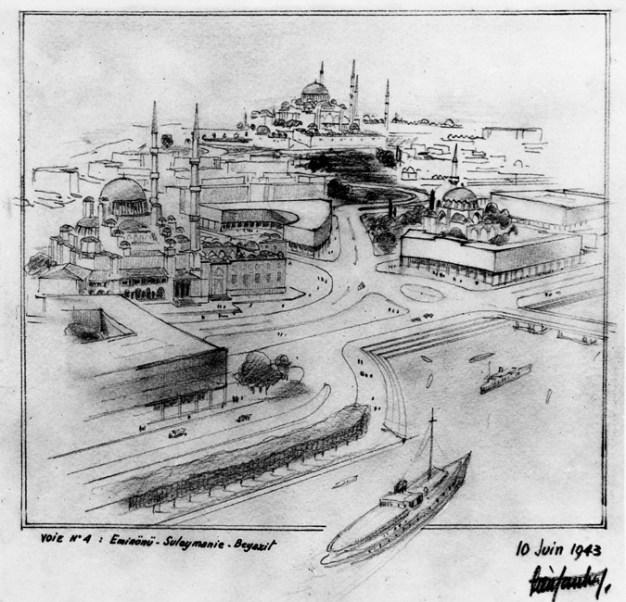 Leyla Turgut, Henri Prost, et alt., urbanización de la Plaza Eminönü y el Puente sobre el Cuerno de Oro, Estambul, 1943.