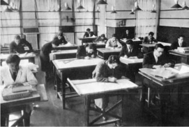 Leyla Asim Turgut, estudiantes de Arquitectura en la Academia Nacional de Bellas Artes de Estambul, 1938