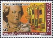 Julia Guarino. Sello emitido en 1998 por la Administración Nacional de Correos - Serie América -UPAEP - Mujeres Destacadas de Uruguay.