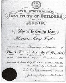 lorence Taylor,cetificate to Honorary Membership of the Australian Institute Builders, 1955.