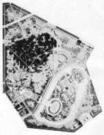 Lyubov Zalesskaya. Plan general para el Parque de la Cultura y el Ocio. Novgorod. Palacio de la Cultura, Estadio, Teatros y otras dotaciones. El paisaje se modifica con un estanque artificial anular. 1935.
