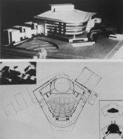 Zalesskaya con Bolbashevsky, Bunin, Kruglova, y Turkus. (ASNOVA) Proyecto de concurso para un teatro masivo para presentación musical, 1930-31. Modelo. Plantas.
