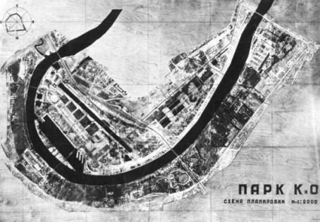 Zalesskaya con I. Kychakov, M. Prokhorova. Plan general para el proyecto de competición del Parque de la Cultura y el Ocio. 1931.