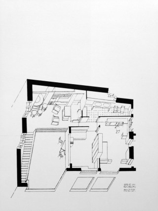 Adrienne Górska. Axonométrica de proyecto apartamento de Tamara Lempicka, 1930.