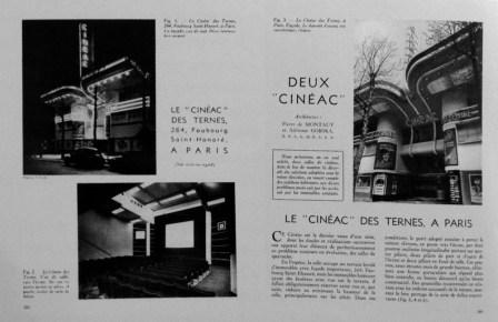 Adrienne Górska y Montaut. Des Ternes Cinemas Cinéac en las páginas 282 y 283 de la revista Le Techniques de Traveaux, Junio de 1939.
