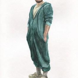 Acuarela, autorretrato en pijama