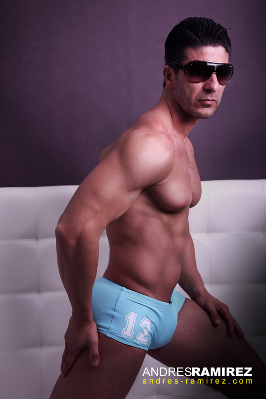 David Fillol in Baby Blue Aussiebum Swim Trunk