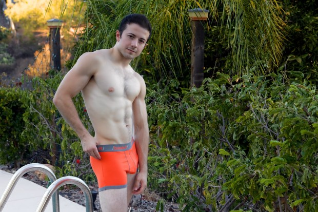 Nelson Marin Orange Baskit Contrast Trunks