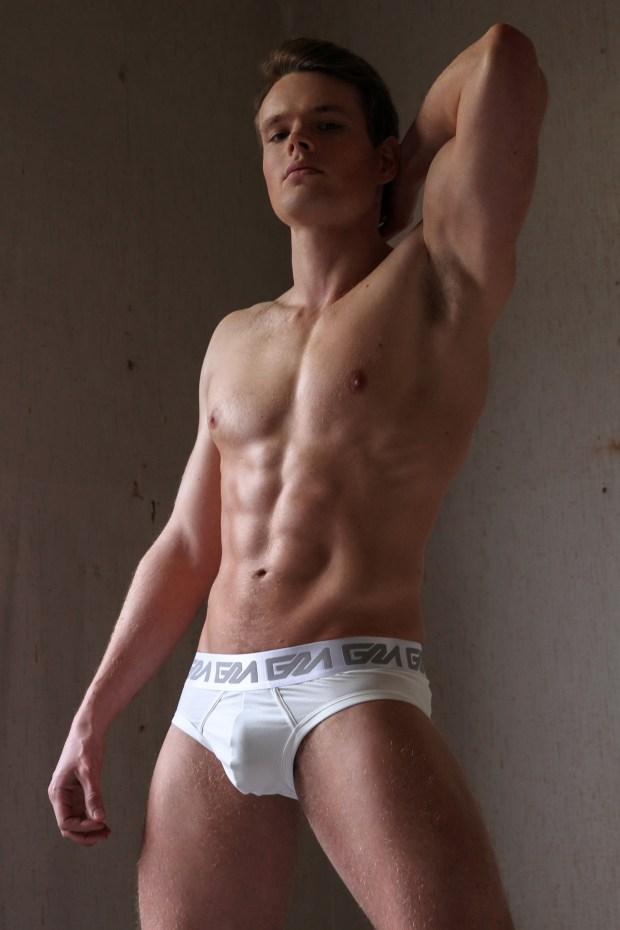 Garcon Model White Briefs Standing