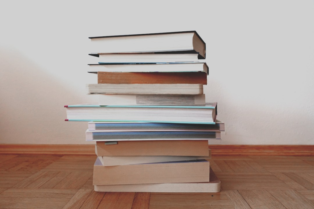 Pile of decluttered books