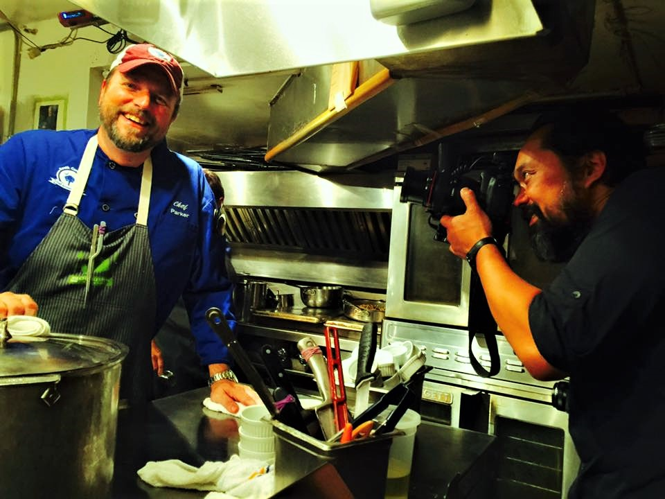 Chef Forrest Parker cooking at the James Beard House