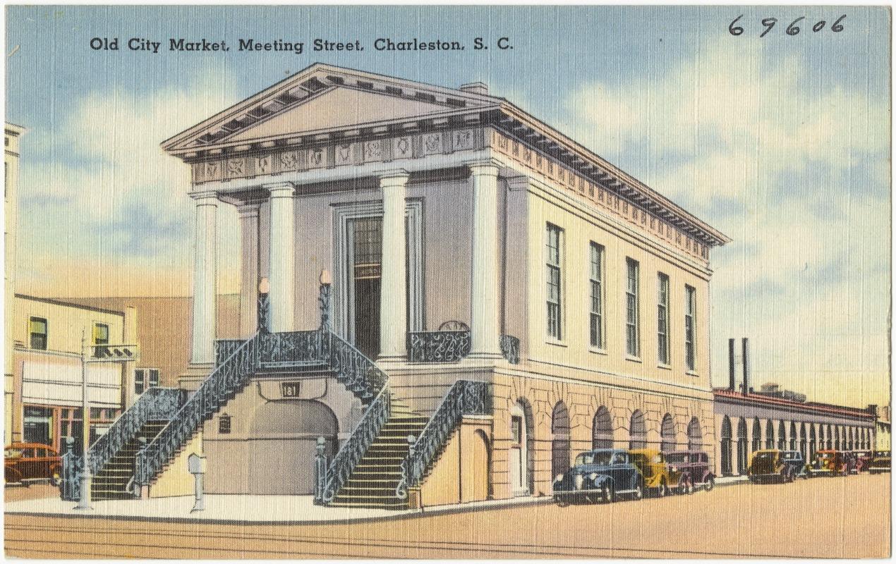 Antique linen postcard of the historic Charleston City Market.