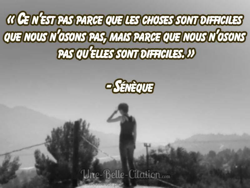 «Ce n'est pas parce que les choses sont difficiles que nous n'osons pas, mais parce que nous n'osons pas qu'elles sont difficiles.» – Sénèque