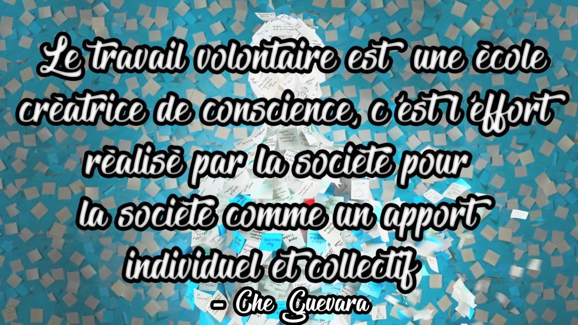 «Le travail volontaire es une école créatrice de conscience, c'est l'effort réalisé par la société pour la société comme un apport individuel et collectif» Che Guevara