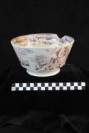 1W308004: Sector G Feature 4, Whiteware Bowl, 1818- 1870, Ceramic, Transfer-print, Mulberry, No Maker's Mark