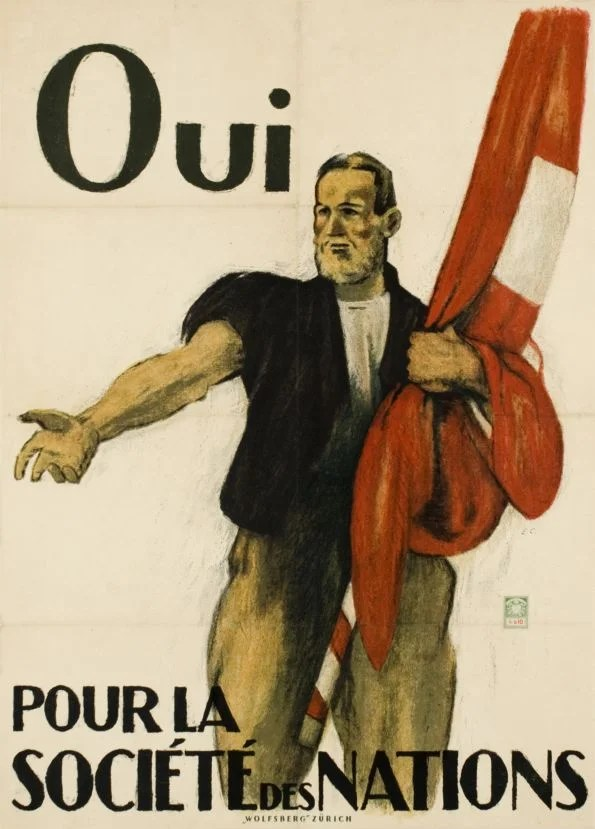 Affiche pour l'adhésion de la Suisse à la société des Nations