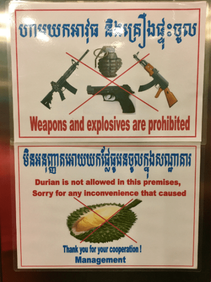 interdit aux durians Cambodge