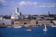 Finland, Helsinki, Waterfront view showing St Nicholas Cathedral