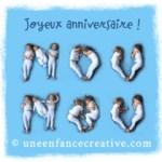 Une carte de vœux pour Nounou où les corps forment les lettres